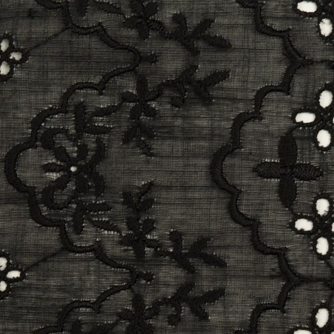 コットン×フラワー(ブラック)×スラブボイル刺繍_全2色 イメージ1