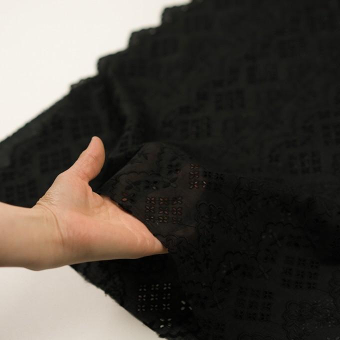 コットン×フラワー(ブラック)×スラブボイル刺繍_全2色 イメージ5