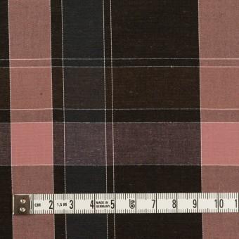 コットン×チェック(チョコレート&グレイッシュピンク)×ブロード サムネイル4