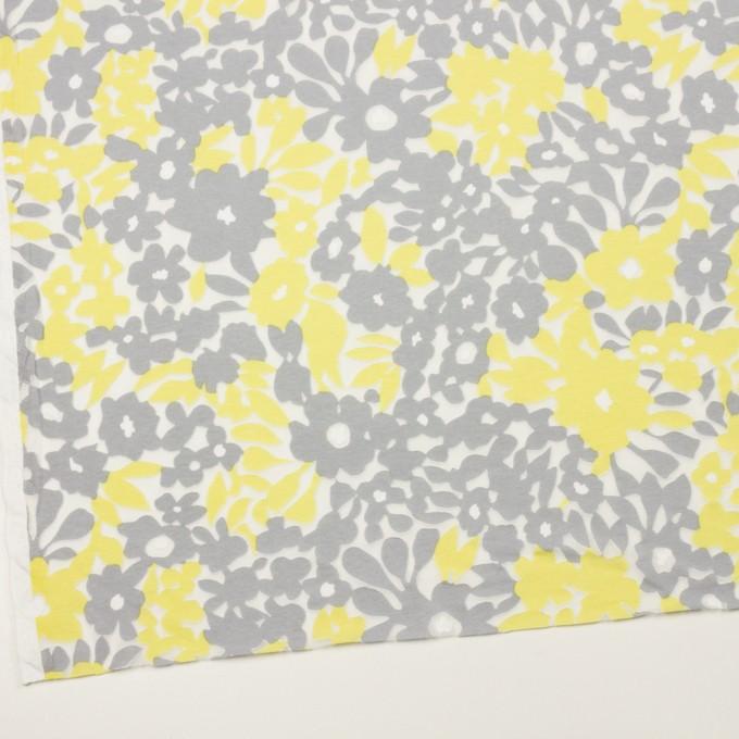 コットン&ポリエステル×フラワー(レモン&グレー)×オパールニット_全2色 イメージ2