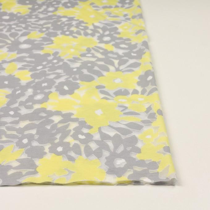 コットン&ポリエステル×フラワー(レモン&グレー)×オパールニット_全2色 イメージ3