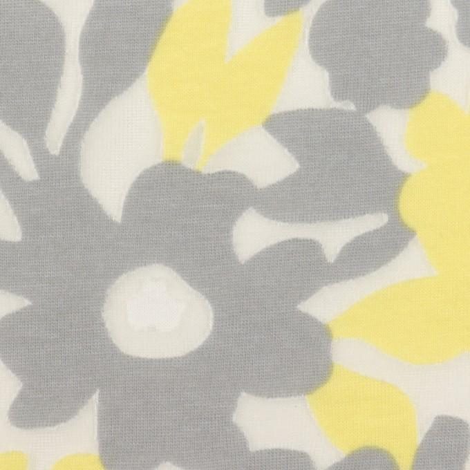 コットン&ポリエステル×フラワー(レモン&グレー)×オパールニット_全2色 イメージ1