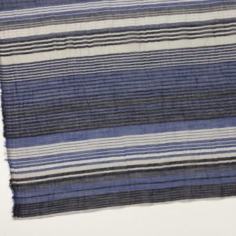 コットンコットン&シルク混×ボーダー(オリエンタルブルー、シルバー&ブラック)×オーガンジー・ワッシャー サムネイル2