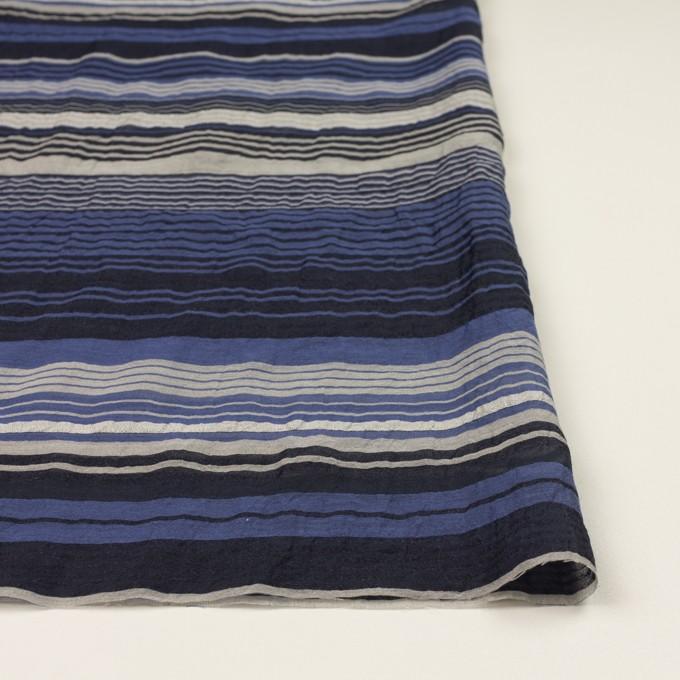 コットンコットン&シルク混×ボーダー(オリエンタルブルー、シルバー&ブラック)×オーガンジー・ワッシャー イメージ3