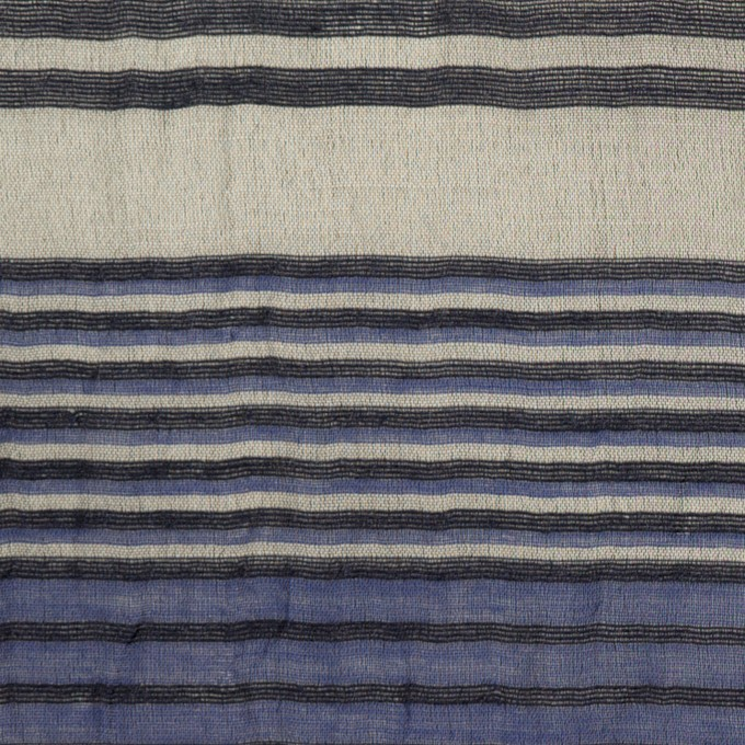 コットンコットン&シルク混×ボーダー(オリエンタルブルー、シルバー&ブラック)×オーガンジー・ワッシャー イメージ1