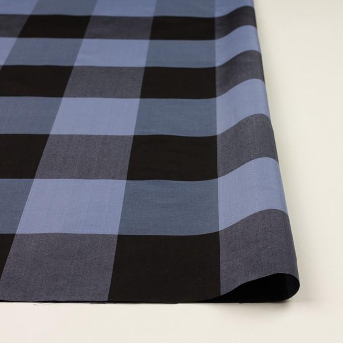 コットン&シルク×チェック(ラベンダーブルー&ブラック)×ローン イメージ3