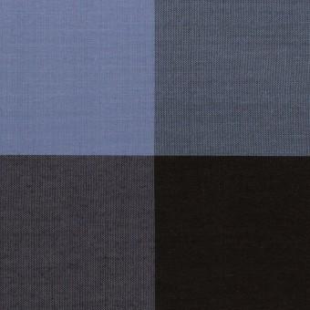 【150cmカット】コットン&シルク×チェック(ラベンダーブルー&ブラック)×ローン