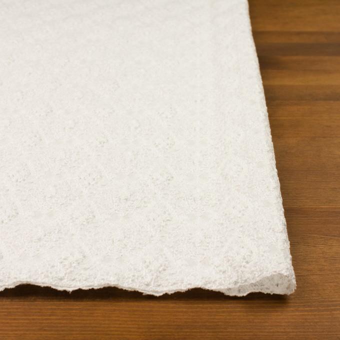 コットン×幾何学模様(ホワイト)×ボイルシャーリング刺繍 イメージ3
