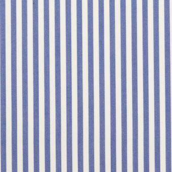 コットン&ポリエステル×ストライプ(ブルー)×ローン