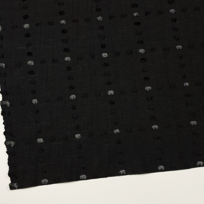 コットン&ナイロン×チェック(ブラック)×オーガンジー・カットジャガード イメージ2