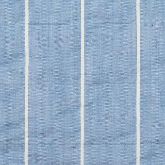コットン&ポリエステル混×ストライプ(ブルー)×ローンシャーリング_全2色