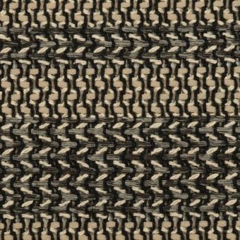 コットン&ポリアミド混×ボーダー(カーキベージュ&グレー)×かわり織_イタリア製