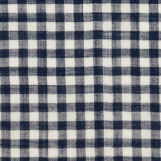 コットン&リネン×チェック(ネイビー)×薄シーチング イメージ1