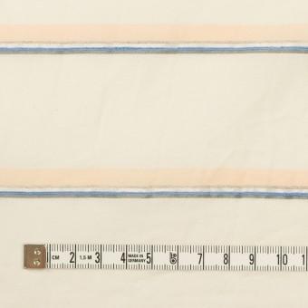 コットン&リヨセル混×ボーダー(エクリュ、ネープルス&ブルー)×ボイルジャガード_イタリア製 サムネイル4