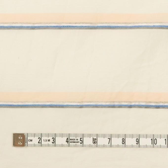 コットン&リヨセル混×ボーダー(エクリュ、ネープルス&ブルー)×ボイルジャガード_イタリア製 イメージ4