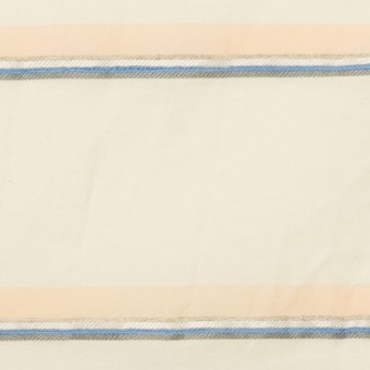 コットン&リヨセル混×ボーダー(エクリュ、ネープルス&ブルー)×ボイルジャガード_イタリア製
