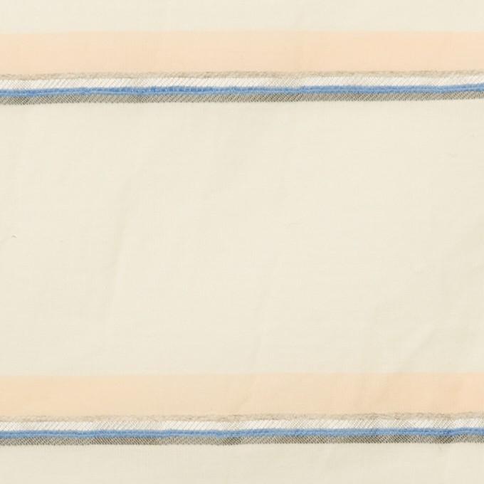 コットン&リヨセル混×ボーダー(エクリュ、ネープルス&ブルー)×ボイルジャガード_イタリア製 イメージ1