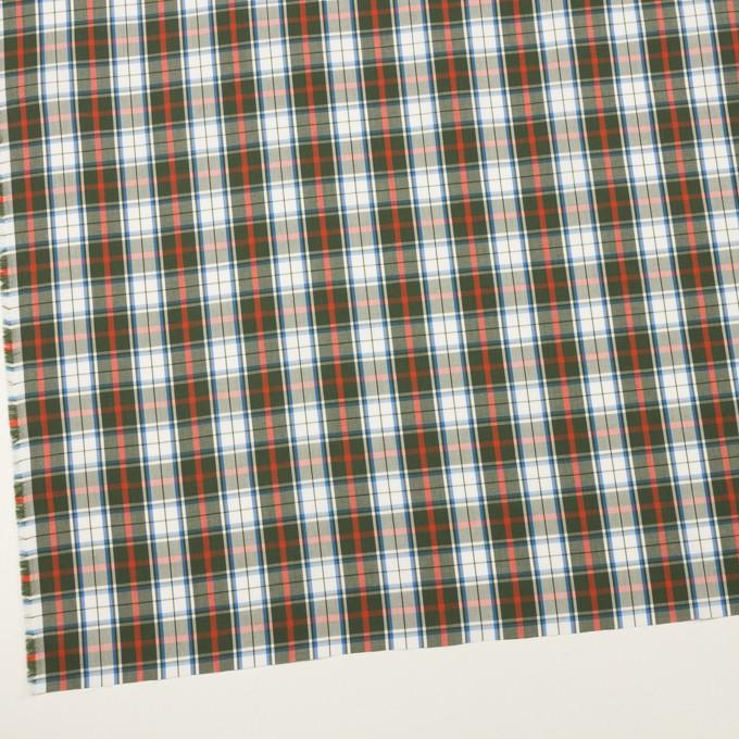 コットン×チェック(カーキグリーン、レッド&ブルー)×ブロード イメージ2