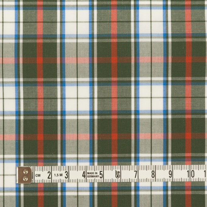 コットン×チェック(カーキグリーン、レッド&ブルー)×ブロード イメージ4