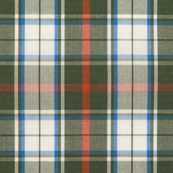 コットン×チェック(カーキグリーン、レッド&ブルー)×ブロード サムネイル1