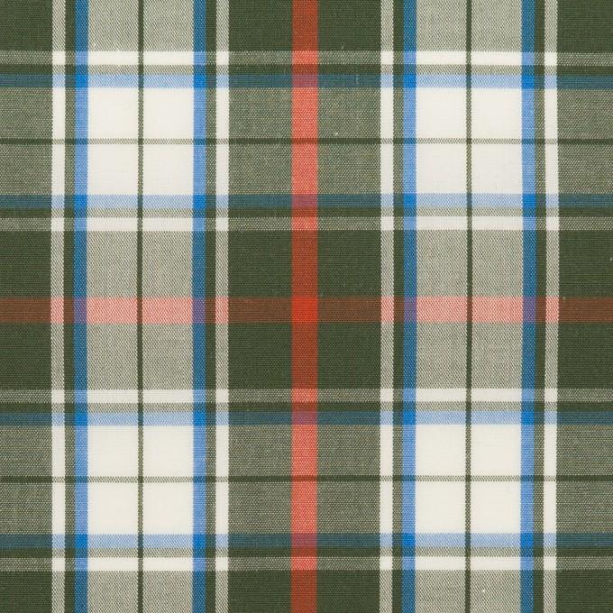 コットン×チェック(カーキグリーン、レッド&ブルー)×ブロード イメージ1