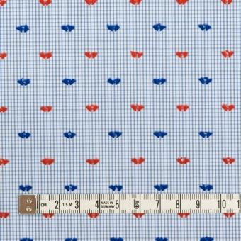 コットン×チェック(サックス、レッド&ネイビー)×ブロード・カットジャガード サムネイル4