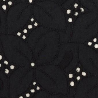 コットン×フラワー(ブラック)×ボイル刺繍 サムネイル1