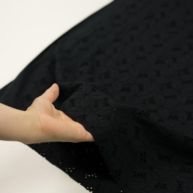 コットン×フラワー(ブラック)×ボイル刺繍 イメージ5
