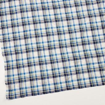コットン&ポリウレタン×チェック(ネイビー、オリエンタルブルー&レモン)×ボイルシャーリング サムネイル2