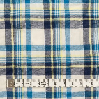 コットン&ポリウレタン×チェック(ネイビー、オリエンタルブルー&レモン)×ボイルシャーリング サムネイル4