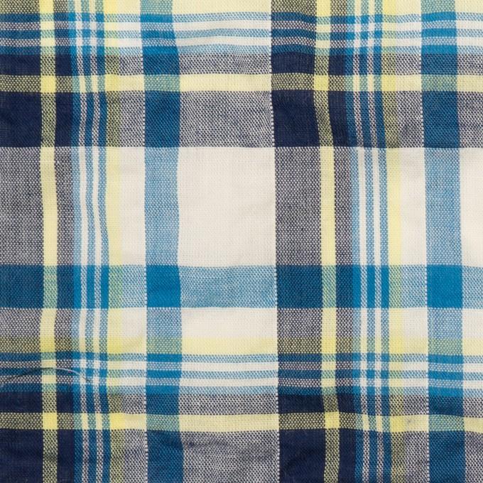 コットン&ポリウレタン×チェック(ネイビー、オリエンタルブルー&レモン)×ボイルシャーリング イメージ1