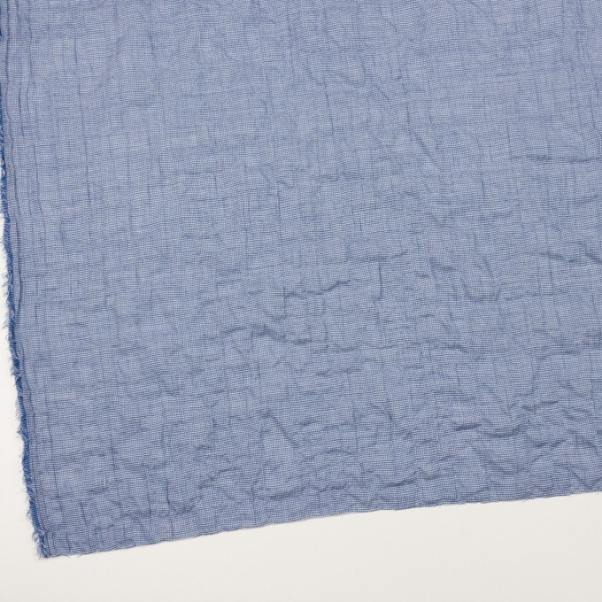 コットン&ポリウレタン×千鳥格子(ブルー)×ボイルシャーリング_全2色 イメージ2