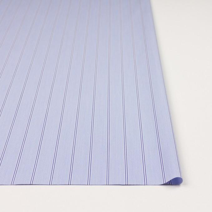 コットン&ポリウレタン×ストライプ(ライトブルー&ネイビー)×ブロードストレッチ イメージ3