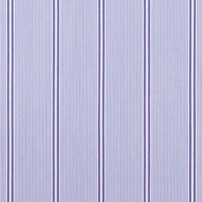 コットン&ポリウレタン×ストライプ(ライトブルー&ネイビー)×ブロードストレッチ イメージ1