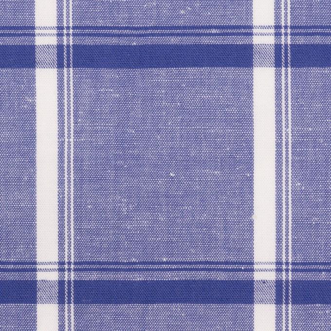 コットン&リネン×チェック(プルシアンブルー)×薄シーチング イメージ1