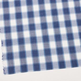 コットン&ポリエステル×チェック(アッシュネイビー&サックスブルー)×薄シーチング サムネイル2