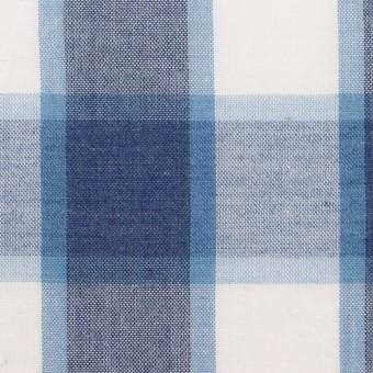 コットン&ポリエステル×チェック(アッシュネイビー&サックスブルー)×薄シーチング サムネイル1