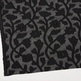 コットン&シルク×フラワー(ブラック)×オーガンジー・カットジャガード サムネイル2