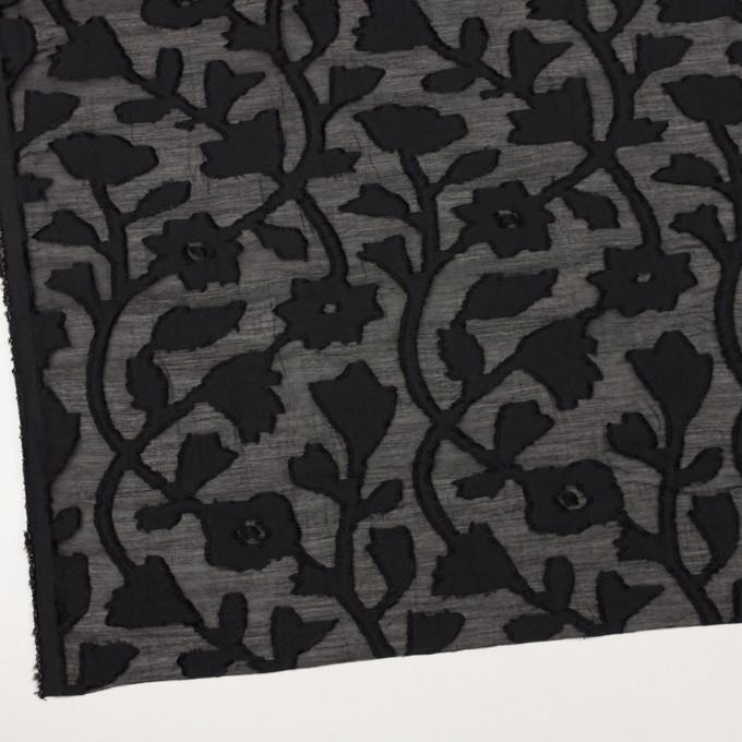 コットン&シルク×フラワー(ブラック)×オーガンジー・カットジャガード イメージ2