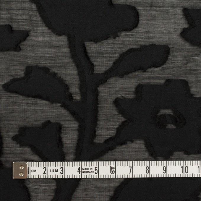 コットン&シルク×フラワー(ブラック)×オーガンジー・カットジャガード イメージ4