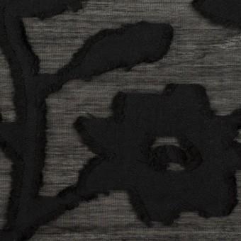 コットン&シルク×フラワー(ブラック)×オーガンジー・カットジャガード