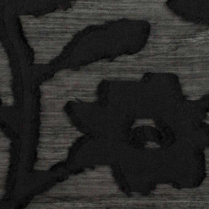 コットン&シルク×フラワー(ブラック)×オーガンジー・カットジャガード イメージ1