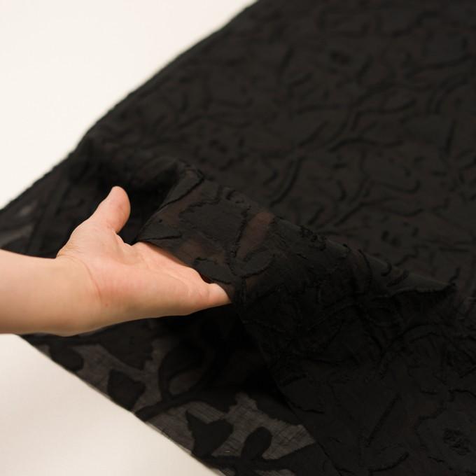 コットン&シルク×フラワー(ブラック)×オーガンジー・カットジャガード イメージ5