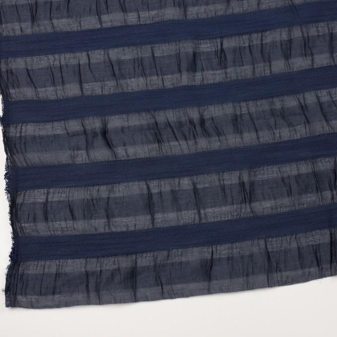 シルク&レーヨン×ボーダー(プルシアンブルー)×オーガンジー・ジャガード_全2色 イメージ2