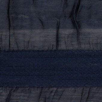シルク&レーヨン×ボーダー(プルシアンブルー)×オーガンジー・ジャガード_全2色