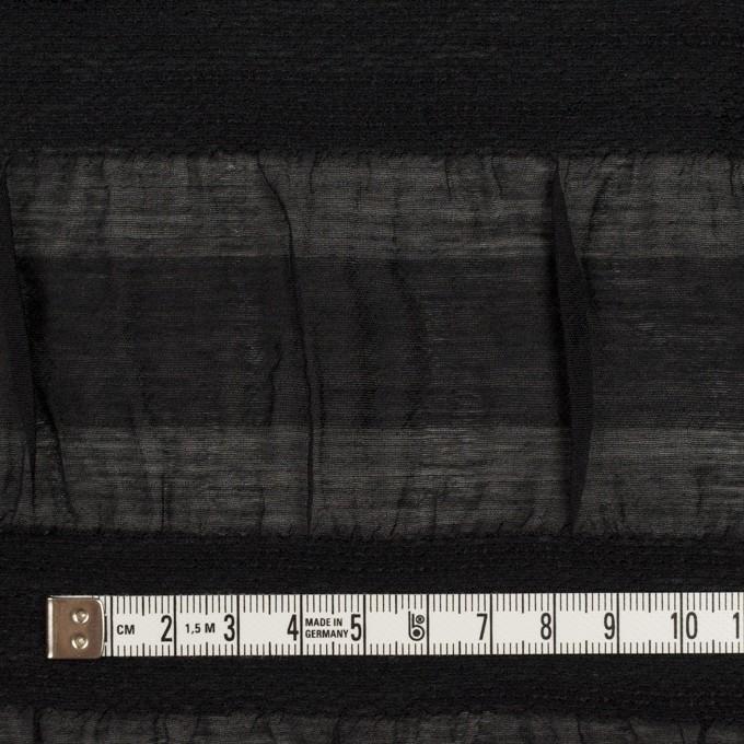 シルク&レーヨン×ボーダー(ブラック)×オーガンジー・ジャガード_全2色 イメージ4