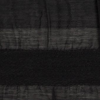 シルク&レーヨン×ボーダー(ブラック)×オーガンジー・ジャガード_全2色