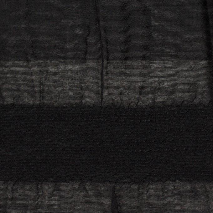 シルク&レーヨン×ボーダー(ブラック)×オーガンジー・ジャガード_全2色 イメージ1