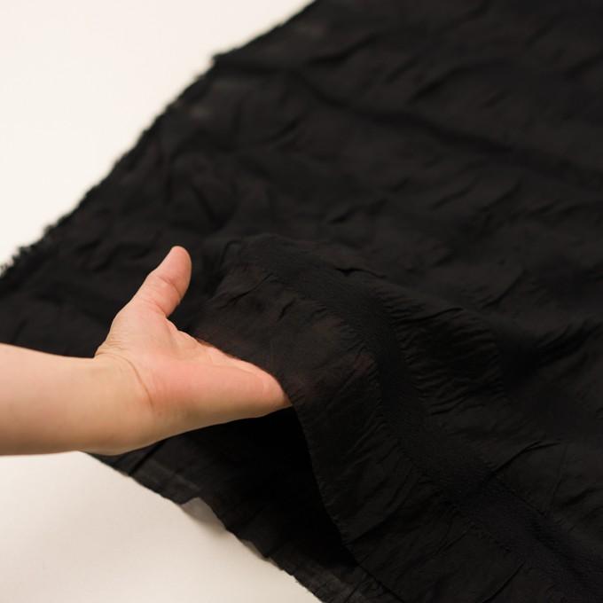シルク&レーヨン×ボーダー(ブラック)×オーガンジー・ジャガード_全2色 イメージ5