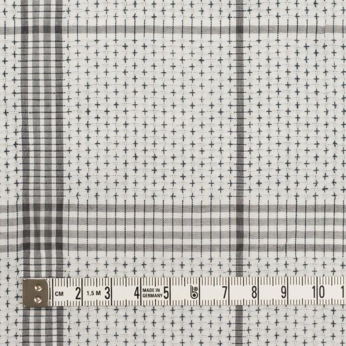 コットン×チェック(ライトグレー&グレー)×刺し子 イメージ4